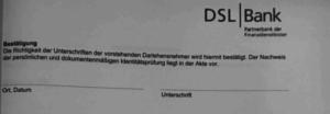 Bild von einer Bestätigung der DSL Bank