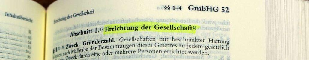 Bild GmbHG Abschnitt 1 Errichtung der Gesellschaft
