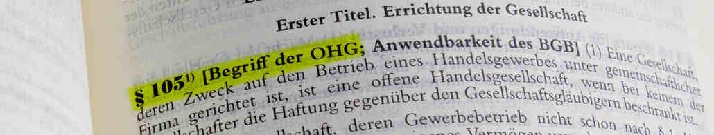 Bild Paragraph 105 Begriff der OHG