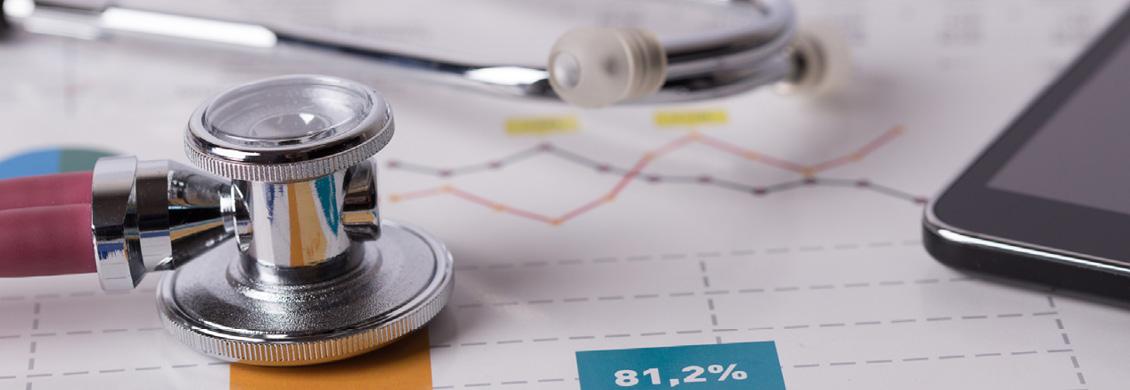 Typische Arzt-Utensilien und Statistiken