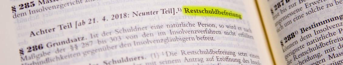 Gesetzbuch aufgeschlagen bei § 286 Insolvenzordnung
