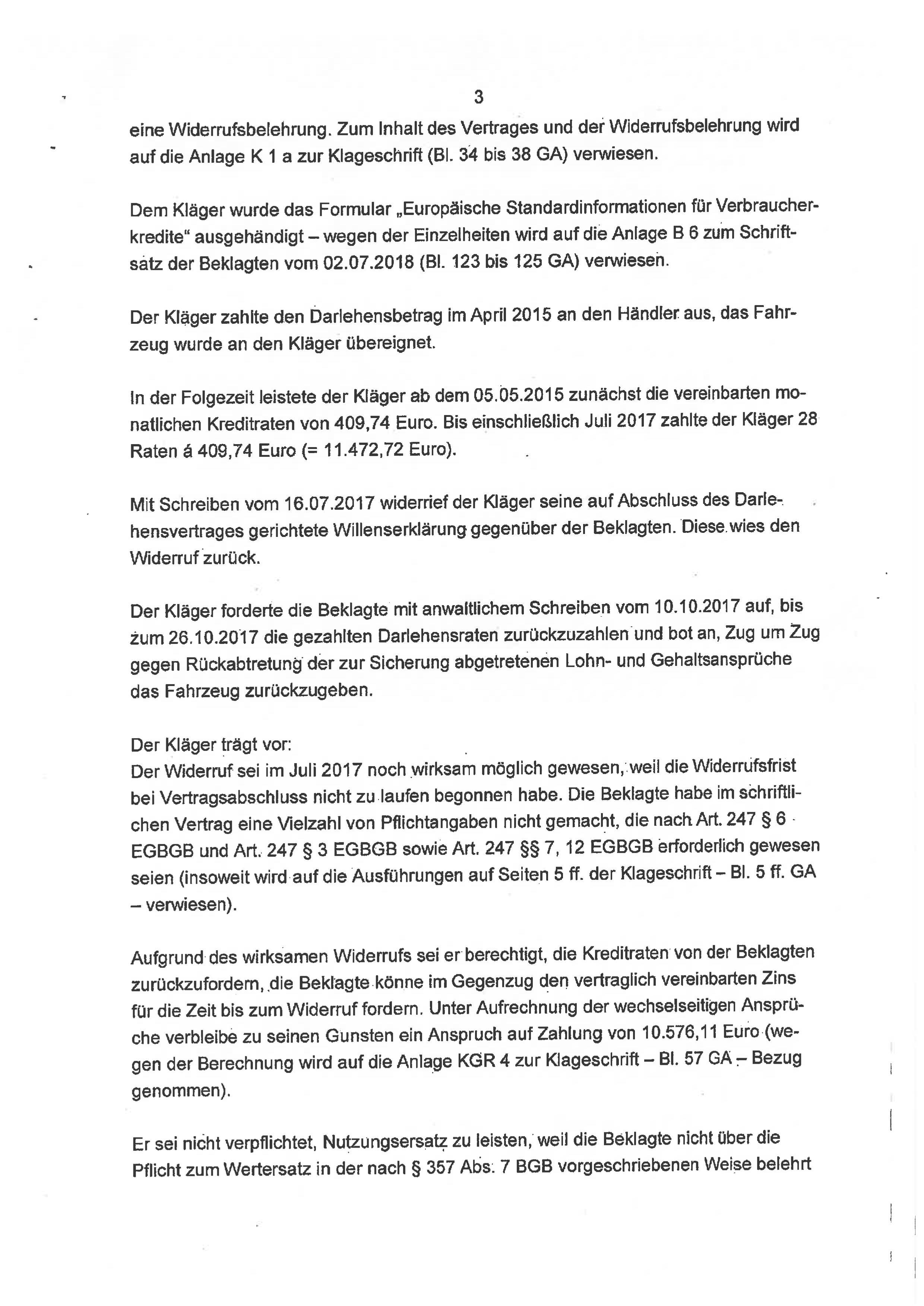 Seite 3 des Urteils 4 O 46/18 zum Widerruf Autokredit