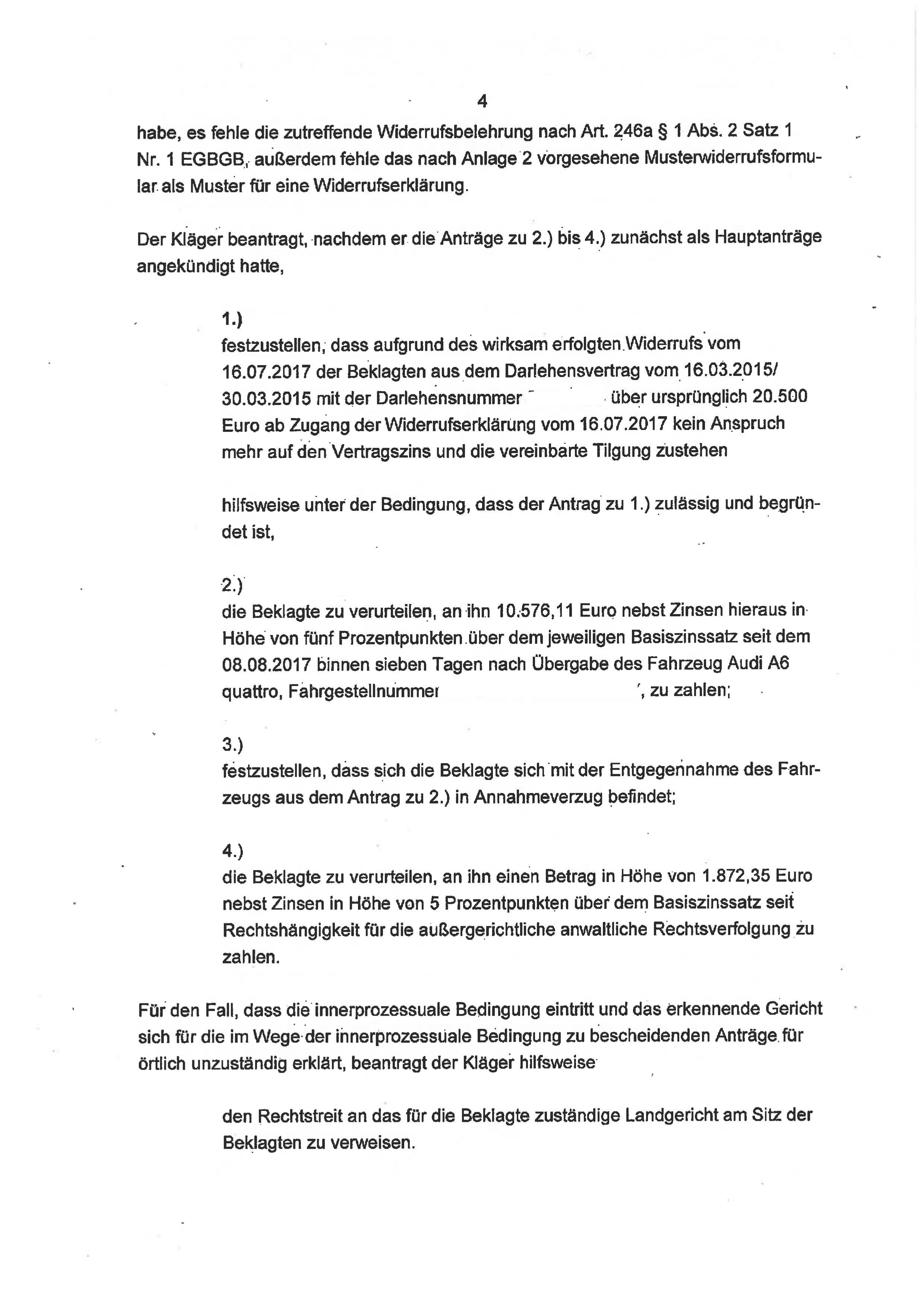 Seite 4 des Urteils 4 O 46/18 zum Widerruf Autokredit