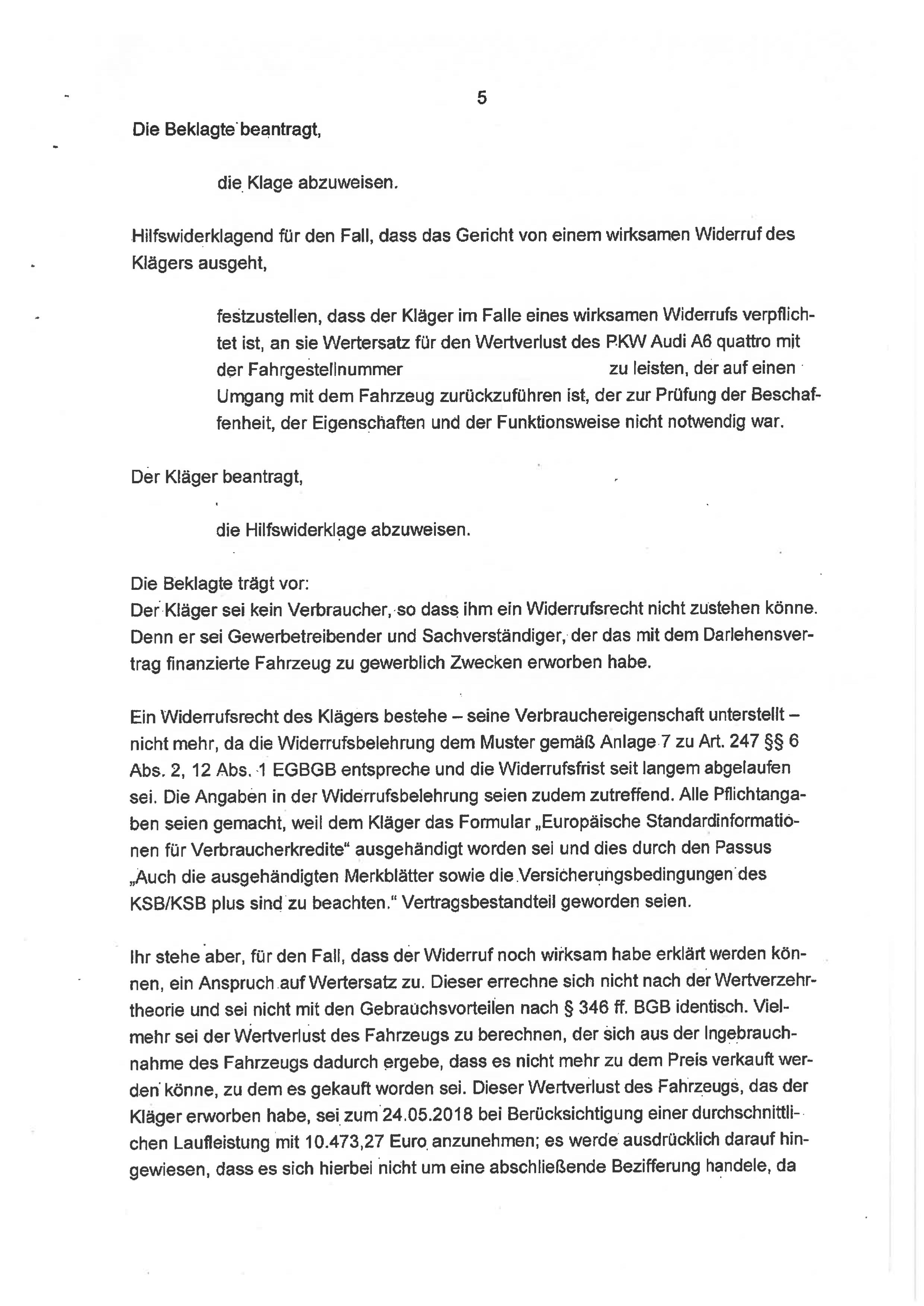 Seite 5 des Urteils 4 O 46/18 zum Widerruf Autokredit