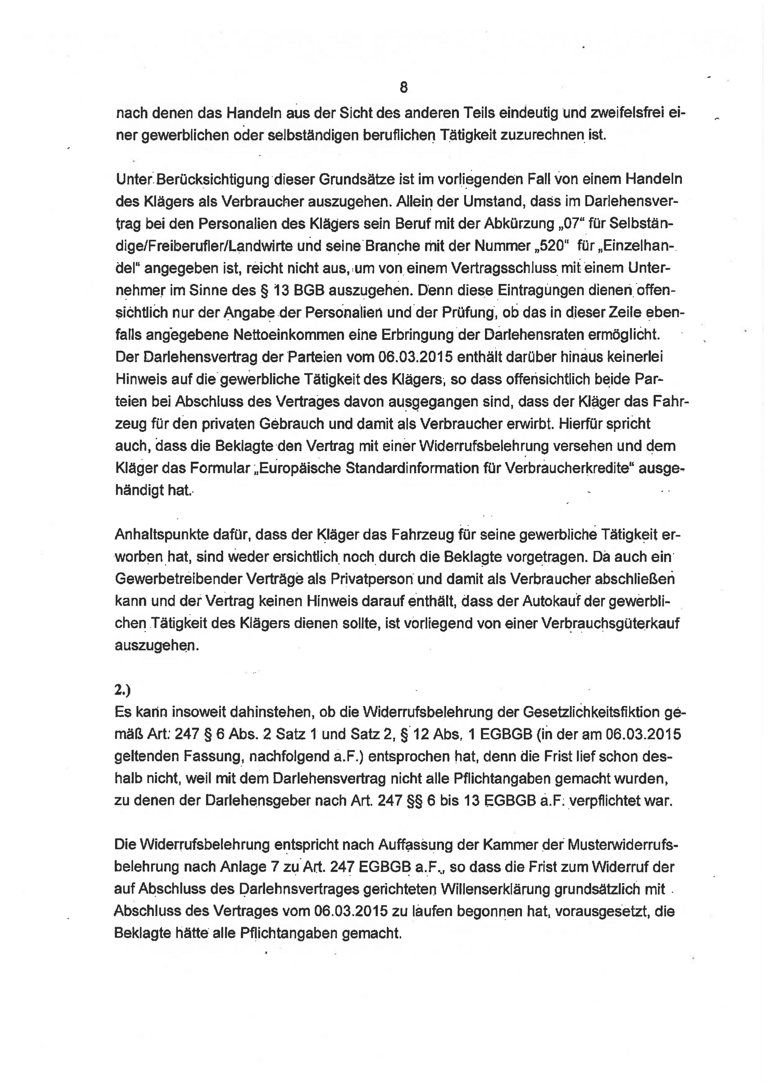 Seite 8 des Urteils 4 O 46/18 zum Widerruf Autokredit