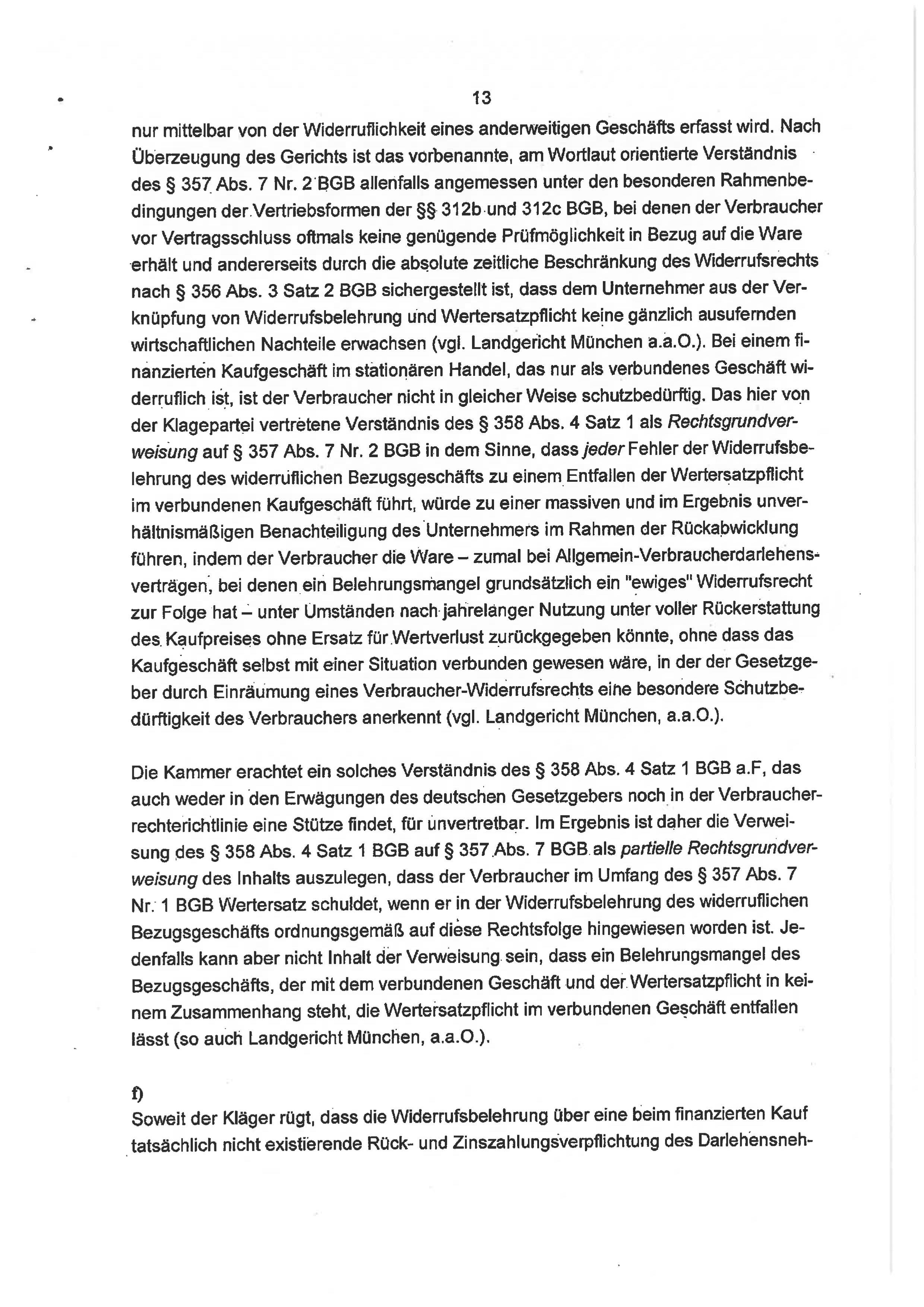 Seite 13 des Urteils 4 O 46/18 zum Widerruf Autokredit