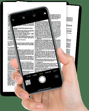 Bild von Smartphone und Vertrag