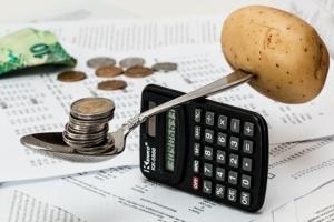 Bild von Geld, Taschenrechner und Kartoffel
